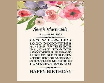 85th Birthday Gift, 1932 Birthday Gift, Grandma Birthday Gift, Printable 85 Birthday, 85th Birthday Sign   ** PDF Digital File**