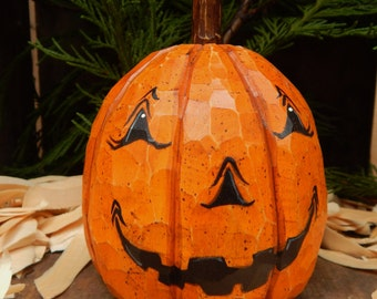 Hand Carved Jack O Lantern Pumpkin  from basswood.