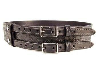 Kilt Belt Double Buckle Belt Black Celtic Knot Belt Hand Dyed Hand Stamped
