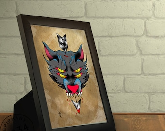 Framed  Neo Traditional Wolf Print. Tattoo style.