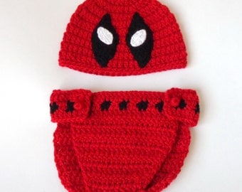 Deadpool Hat and Diaper Cover Costume set, Marvel Beanie Mask- Superhero Mask- Movie Merc Newborn- Halloween /Cosplay Wig
