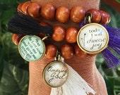 DARK Wood Bead Scripture Tassel Bracelet
