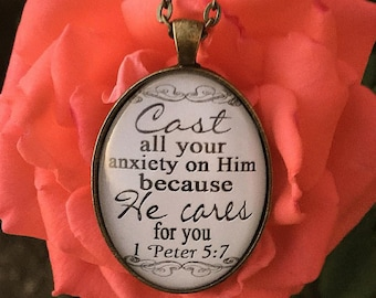 "Oval Bible Verse Pendant Necklace ""Cast all your anxiety on Him because He cares for you. 1 Peter 5:7"""