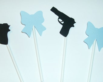 12 Baby Boy / Little Man / Gender Reveal / Guns and Bows Cupcake Toppers (251C)