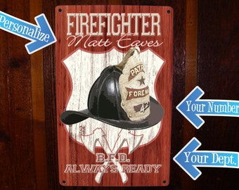 Firefighter decor. Custom Tin Sign. Personalized Fireman Sign.