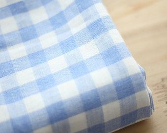 Double Gauze 1.5 cm Plaid Blue By The Yard