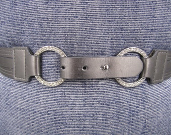 Petite leather metallic grey  silver belt