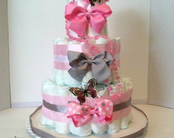 Diaper Cake With Butterflies For A Baby Girl