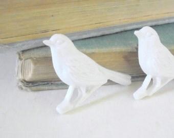 Little Bird Brooch, Sparrow Pin, White Resin Bird, Nature Inspired