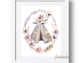 Floral Teepee Print Printable Boho Girls wall art Blush Lilac Pink Watercolor Bohemian Nursery Teepee Wreath Art 8x10 11x14 16x20 DOWNLOAD