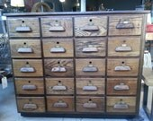 Vintage oak bank of drawers