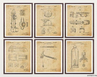 Firefighter Ultimate Patent Poster Set - Fireman Art - Fireman Poster - Fire Company - Fire House - Fire Truck Art - Fire Patent - Axe