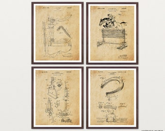Horse Art - Horse Wall Art - Equestrian Inventions - Horse Patent - Horse Decor - Stables - Mare - Saddle - Horseshoe - Stirrups - Trot