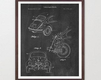 VW Beetle - VW Bug - Volkswagen Poster - Volkswagen Art - Volkswagen Beetle Poster - Volkswagen Beetle Patent - VW Patent - Vintage Car Art