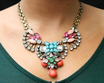 Embellished Multicolored Statement Necklace