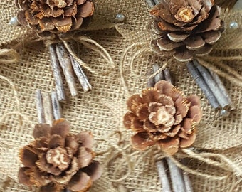 Boutonnieres, Rustic boutonnieres, pinecone boutonnieres