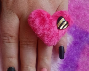 Pink fuzzy heart ring