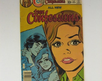 Vintage Comic Book. Teen Confessions Charlton Comics #96 September 1976. Such Drama! Much romance! Many tears!