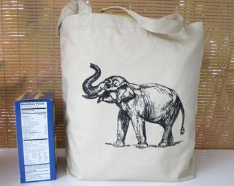 Tote Bag, 100% Organic Cotton Tote, Elephant Tote Bag, Screen Printed Tote Bag, Elephant, Grocery Bag, Organic Cotton
