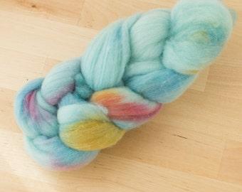 Hand Dyed Roving Merino Wool Fiber Sky