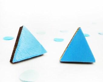 Triangle Earrings | Blue Triangle | Geometric jewellery | Painted wood | Geometric Shape | Stud Earrings | Bright Blue