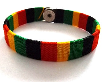 Jamaica coloured bracelet woven wristband strap, reggae rasta Jamaican style With press stud.