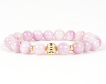 Genuine Kunzite Bracelet, Pink Gemstone Stretch Bracelet