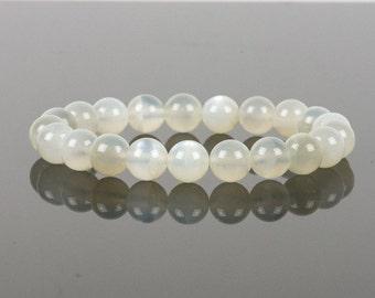 Moonstone Bracelet, White Reflective Moonstone, Women's Fashion, Gemstone Bracelet, Handmade Jewelry, Gemstone Jewelry