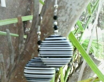 Black & White Striped Dangles On Sale