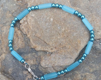 Genuine Handmade Blue Mother-Of-Pearl Anklet