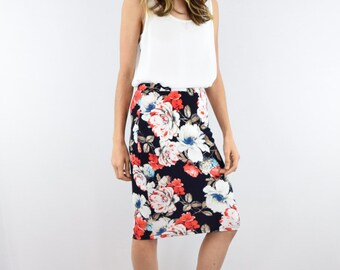 Floral Pencil skirt Small to XL
