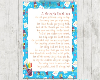 Teacher Appreciation Print - End of Year Teachers Gift - Childcare Teachers Gift - Digital File - A Mothers Thank You!