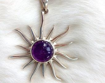Amethyst Cabochon Sun Pendant Sterling Silver