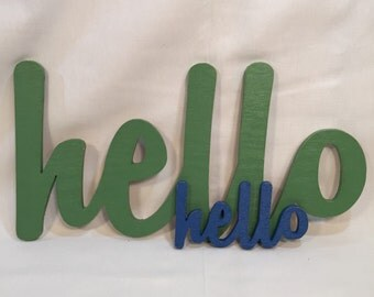 Large - HELLO Sign White Wall Decoration Wood House Mantle Gift Wedding Apartment Dorm Apt