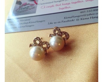 Bow & Pearl earring set
