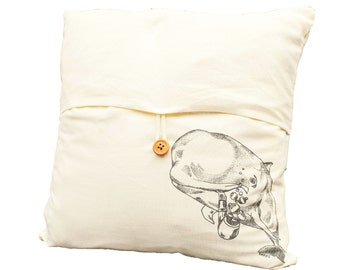 Pilot Whale Toss Pillow Cover - Hand Screen Printed - Nautical Throw Pillow Cover - Cream Color Linen Blend Slip Cover