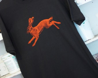 Hare Mens Organic Cotton Screen Printed T-Shirt in Vintage Charcoal