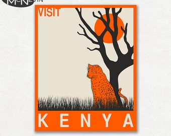 KENYA, AFRICAN Travel Poster, Retro Pop Art