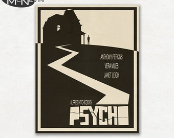 Psycho Movie Poster - Beige version, Fine Art Print