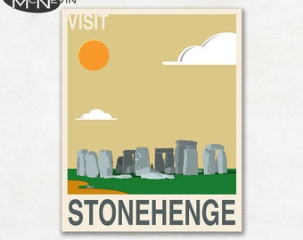 Visit STONEHENGE, Travel Poster, Retro Pop Art