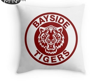 BAYSIDE TIGERS, Saved by the Bell TV Show Throw Pillow, Home Decor Geek Art
