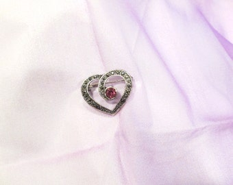 Vintage Marcasite Heart Shaped Pin With Light Magenta Colored Stone.  Nice Detail and Nice Price!!