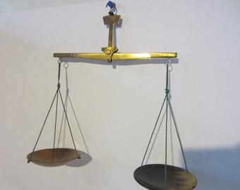 SALE  Antique Brass and Celluloid Balance - 1930's Scale - Jeweler's Scale - Apothecary -