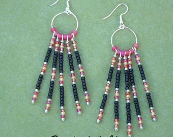 Native American inspired, seed bead earrings, beaded earrings, beaded jewelry, hand made earrings, southwestern, boho, hippie, chic, gypsy