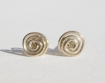 Silver Whorl Stud Earrings