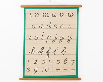 Vintage Alphabet Chart Letter Pull Down Chart Handwriting Green Kids Wall Hanging