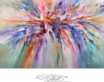 """63.1 """" x 43.4 """". Large Abstract Painting Original XL Acrylic on Canvas Modern Art. Pink, Purple, dynamic Peter Nottrott."""
