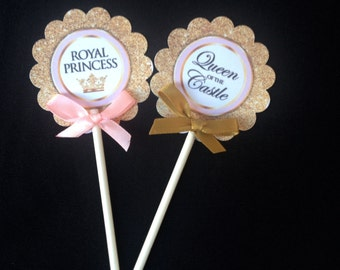 Princess Cupcake Toppers, Royal Princess, Baby shower  pink and gold 2 Dozen Cupcake toppers