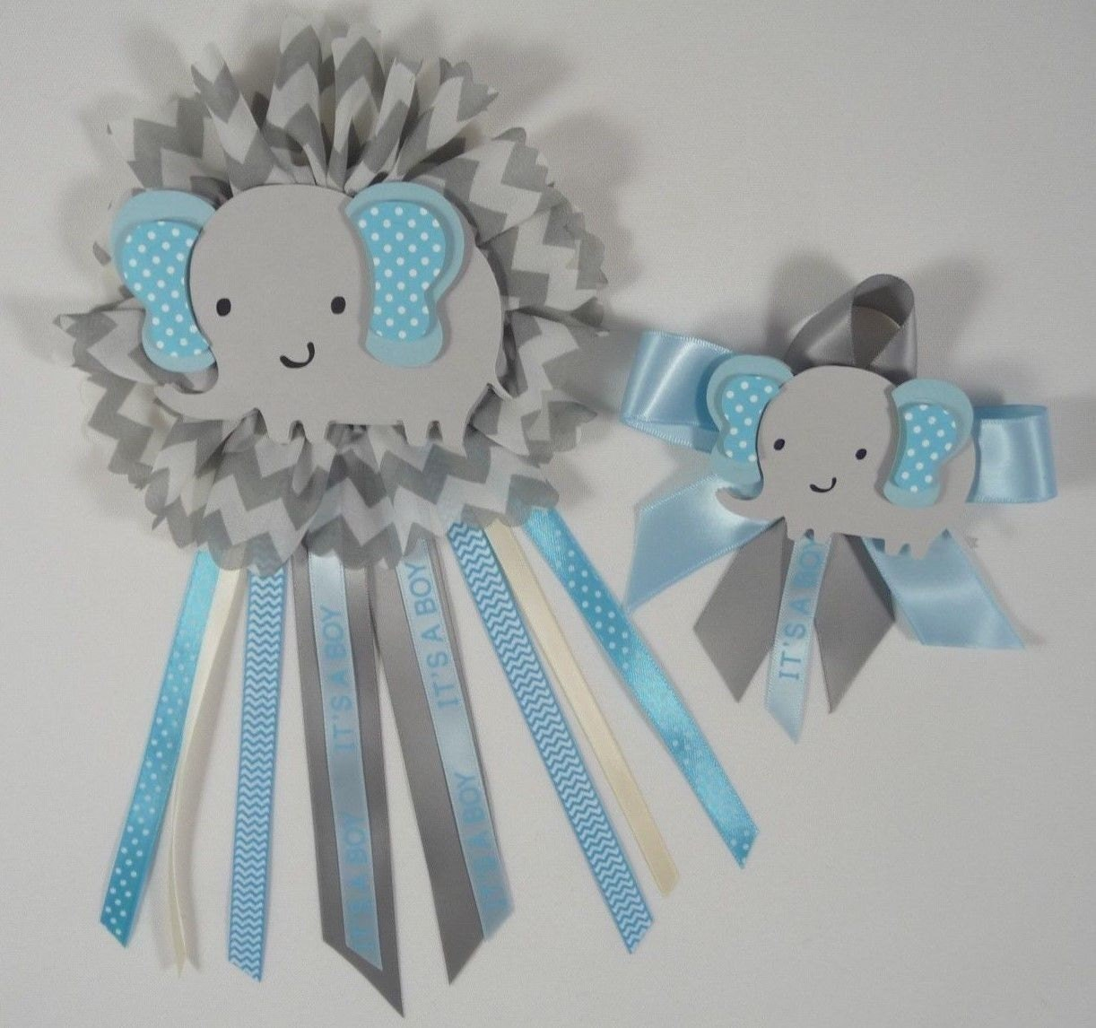 baby shower corsage elephant theme blue and gray elephant 2