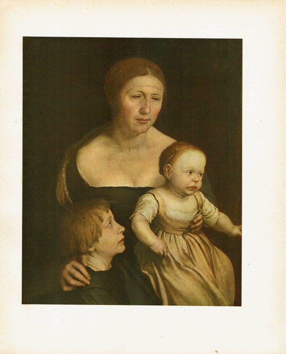 Antique print of painting by Hans Holbein the Younger of his wife and son and daughter, high quality print, beautiful details, 1926